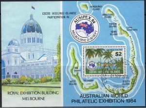 COCOS ISLANDS 1984 AUSIPEX 84 MINI SHEET