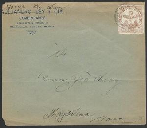 MEXICO SONORA 1913 5c Transitorio on cover to Magdelena....................49506