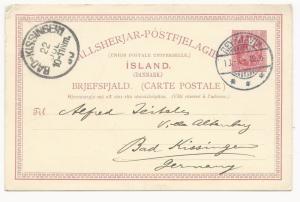 Iceland Mi #P34 Postal Card to Germany July 13, 1905