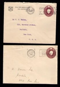 GB UK Stamped Envolopes (1933 & 1938) KGV Cambridge & London 1-1/2d (x2) USED