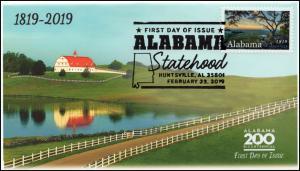 19-036, 2019, Alabama Statehood, Pictorial  Postmark, FDC, Huntsville