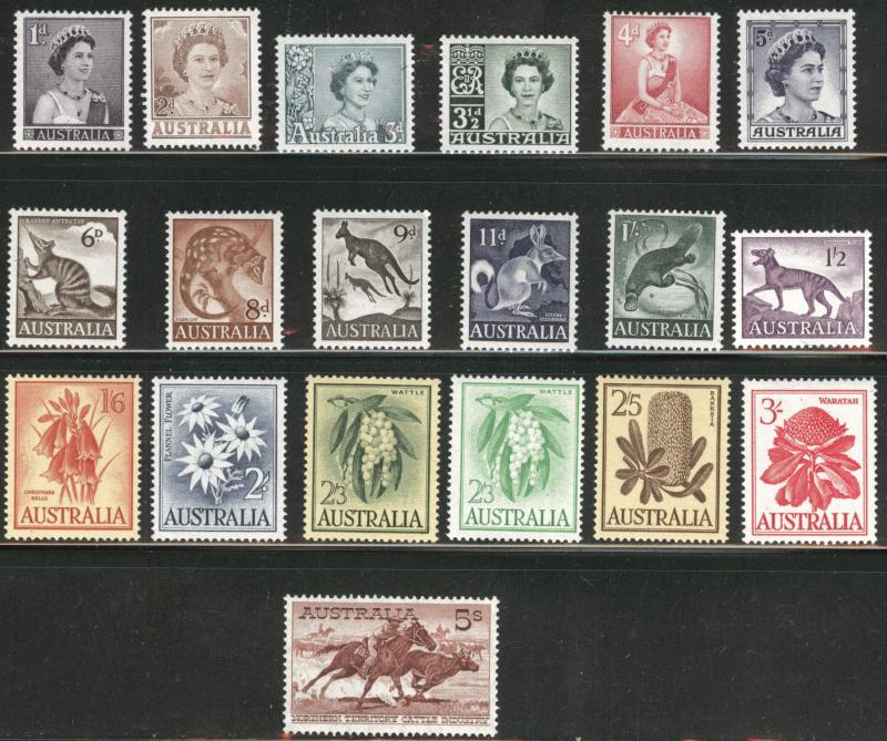 Australia Scott 314-331 Mint 1959-64 e set of 19 CV$69