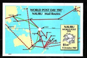 Nauru-Sc#339-Unused NH sheet-UPU-World Post Day-1987-
