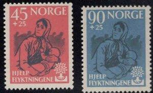 Norway Scott B64-B65, World Refugee Year, WRY semi-postal set CV$24 MNH**