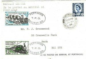 GB Wales FFESTINIOG RAILWAY Cover TPO Portmadoc Railway Letter 1969 35c.8