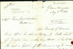 GB WALES Pembrokes Cover 1861 *Carew Mountain* Letter Wife LIGHTMAN Rare MS1732