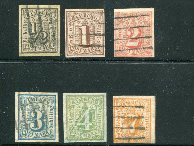 Hamburg #1 to 6 Used  #1 is a reprint - Lakeshore Philatelics