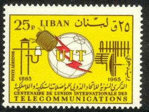 LEBANON 1966 25p ITU Centenary Airmail Sc C461 MNH