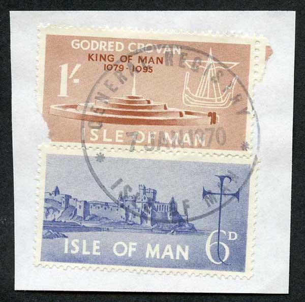 Isle of Man 1/- Brown and 6d Blue QEII Pictorial Revenues CDS On Piece