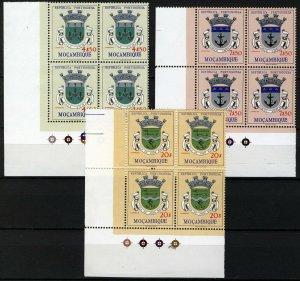 Mozambique 1961, Weapons blocks, 3 high values VF MNH, Mi 471, 473, 475 cat +25€