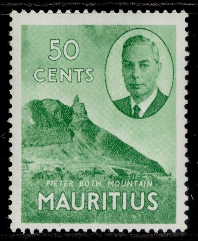 MAURITIUS GVI SG286, 50c emerald-green, LH MINT.