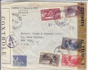 1943, Beirut, Lebanon to New York,NY, Censored, See Remark (C3561)