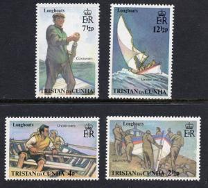 Tristan da Cunha  #174-177 1972  MNH  Trsistan longboats