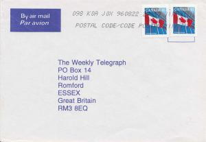 Canada 45c Flag and Building (2) 1996 K0A [Ontario] Airmail to Romford, Engla...