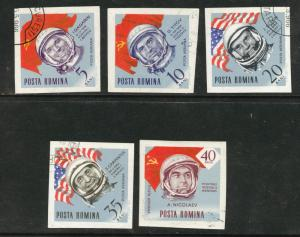 ROMANIA Scott C151-55 CTO Airmail Astronaut imperforates
