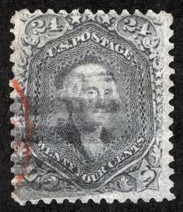 US Sc 78 Lilac 24¢ Blk Grid and Partial Red Cancel
