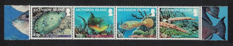 Ascension Reef Fish 2nd series 4v strip SG#1129-1132