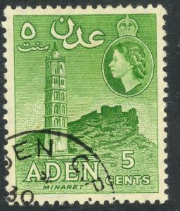 ADEN 1953-59 QE2 5c MINARET Pictorial Perf. 12 Sc 48a VFU
