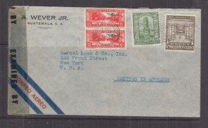 GUATEMALA, 1943 censored airmail cover, Guatemala City to USA, 1c., 3c., 15c.(2)