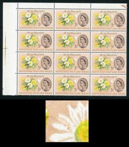 SG637a 1963 3d Nature with Caterpillar Flaw Variety Block of 12 U/M