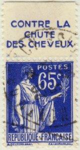 FRANCE - 1937 Pub HAHN (Contre la Chute des Cheveux) sur Yv.365b 65c Paix obl.
