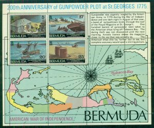BERMUDA GUNPOWDER Souvenir sheet, Mint NH, commemorating Gunpowder Plot of 1775