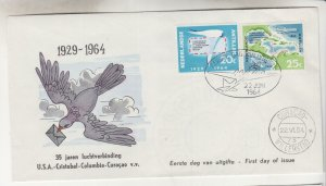 NETHERLANDS ANTILLES,1964 25th. Anniv, Curacao-US Flight pair, First Day cover