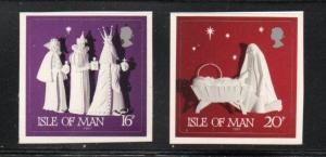 Isle of Man  Sc 492-93 1991 Christmas self adhesive stamp set mint NH