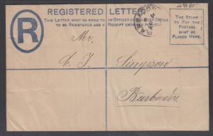 Barbados H&G C3 used 1894 1p Registered Envelope, local use VF