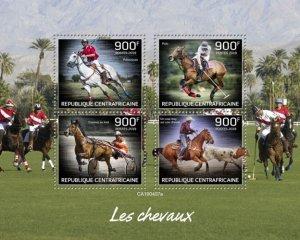 C A R - 2019 - Horses - Perf 4v Sheet - MNH