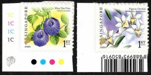 Singapore 1373-1374, Self- Adhesive,MNH.Flowers.Blue pea vine,Pigeon orchid,2009