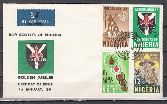 Nigeria, Scott cat. 169-172. 50th Anniv. of Boy Scouts issue. First day cover.