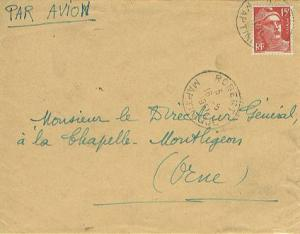 Martinique France 15F Marianne Gandon 1951 Robert, Martinique Airmail to Mont...