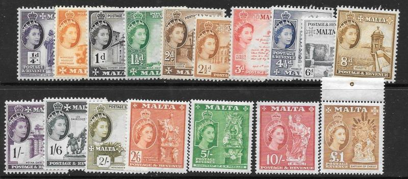 MALTA SG266/82 1956 DEFINITIVE SET MNH