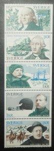 Sweden 1005-09. 1973 Swedish Explorers, NH