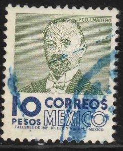 MEXICO 930a, $10Pesos 1950 Def 8th Issue WMK 300 USED. F-VF. (1439)