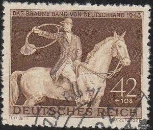 Stamp Germany Mi 854 Sc B243 1943 WWII Fascism Horse Munich Brown Ribbon Used
