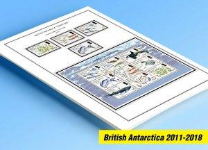 COLOR PRINTED BRITISH ANTARCTIC 2011-2018 STAMP ALBUM PAGES (30 illustr. pages)