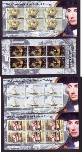 Gibraltar-Sc#1005-8-four unused NH sheets-Battle of Trafalgar-Ships-Nelson-2005-