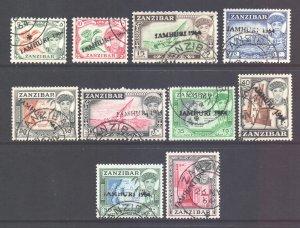 Zanzibar Scott 285a/294a - SG394/403, 1964 Jamhuri Set to 1/- used