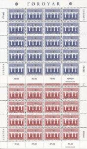 Faroe Islands - 1984 Europa - Set of 2 20 Stamp Sheets - Scott #106-7