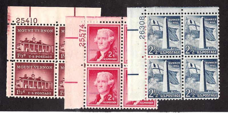 1032-4 Mint,OG,NH... Plate Blocks of 4