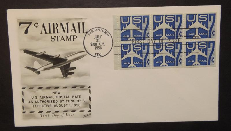 FDC # C51a,  7c Jet Airliner, bklt pane with Tab, Fleetwood (3325)