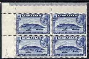 Gibraltar 1931-55 KG5 Rock 3d blue P14 corner block of 4 ...