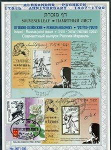 ISRAEL CARMEL #285  SOUVENIR LEAF OV'PTD 175th BIRTH PUSHKIN  ENG FD CANCELED