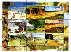 Somalia 2001 Paintings Australian Impressionists 9v Mint Full Sheet. (L-32)