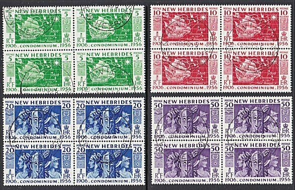 NEW HEBRIDES 1956 Discovery set fine used blocks of 4.......................A263