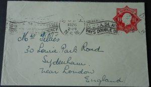 Australia 1926 GV One and HalfPence Postal Envelope to England