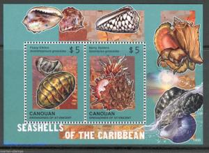 CANOUAN 2014  SEASHELLS OF THE CARIBBEAN  SOUVENIR SHEET II   MINT NH