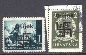CROATIA 33, 57 1944 LOCAL OSIJEK OCCUPATION OVERPRINT CDS VF